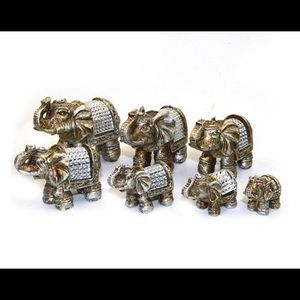 Set of 7 Lucky elephant family statues collection